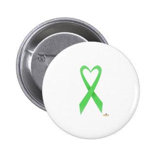 Light Green Heart Shaped Awareness Ribbon Pinback Button