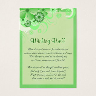 Light Green Hibiscus Wedding Wishing Well Cards