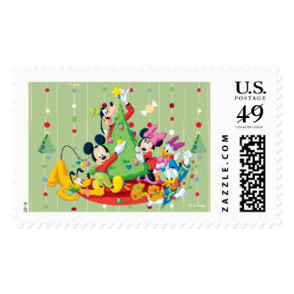 Light Green Holiday Mickey Postage