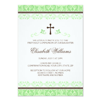 Light green lace first holy communion confirmation card