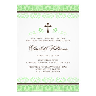 Light green lace first holy communion confirmation custom announcement