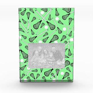 Light green lacrosse sticks pattern acrylic award