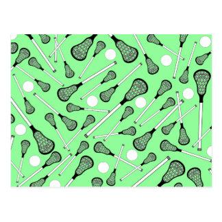 Light green lacrosse sticks pattern postcard