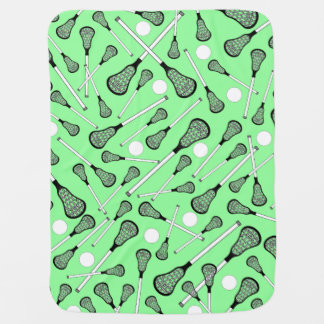 Light green lacrosse sticks pattern receiving blanket