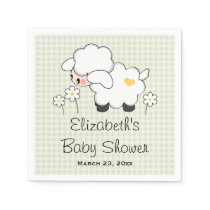 Light Green Lamb Gender Neutral Baby Shower Napkin