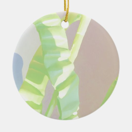 Light Green Leaves. Double-Sided Ceramic Round Christmas Ornament