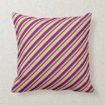[ Thumbnail: Light Green, Light Pink, and Purple Stripes Pillow ]