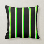 [ Thumbnail: Light Green, Lime, Beige, and Black Colored Lines Throw Pillow ]