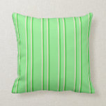[ Thumbnail: Light Green, Lime Green, and Beige Colored Pattern Throw Pillow ]