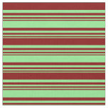 [ Thumbnail: Light Green & Maroon Colored Stripes Fabric ]