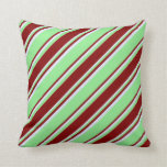 [ Thumbnail: Light Green, Maroon & Lavender Colored Lines Throw Pillow ]