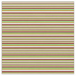 [ Thumbnail: Light Green, Maroon, White, and Dark Goldenrod Fabric ]