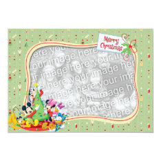 Light Green Mickey & Friends: Merry Christmas Card at Zazzle