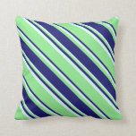 [ Thumbnail: Light Green, Midnight Blue & Light Cyan Colored Throw Pillow ]