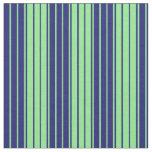 [ Thumbnail: Light Green & Midnight Blue Lines Pattern Fabric ]
