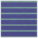 [ Thumbnail: Light Green & Midnight Blue Stripes Pattern Fabric ]