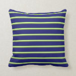 [ Thumbnail: Light Green, Mint Cream, Green, and Midnight Blue Throw Pillow ]