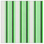 [ Thumbnail: Light Green, Mint Cream, Lime, and Black Stripes Fabric ]