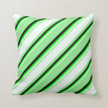 [ Thumbnail: Light Green, Mint Cream, Lime, and Black Stripes Throw Pillow ]