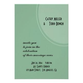 Light Green Modern Circle Wedding Personalized Announcement