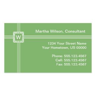 Light Green Monogram Business Card