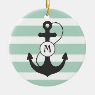 Light Green Nautical Anchor Monogram Ceramic Ornament