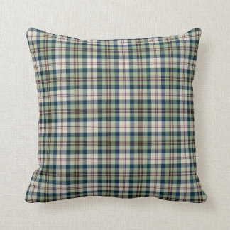 Light Green, Navy Blue and Cream Plaid Pattern Throw Pillow