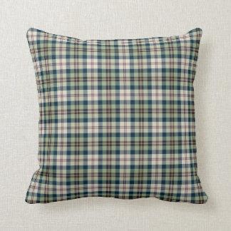 Light Green, Navy Blue and Cream Plaid Pattern Throw Pillow