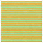 [ Thumbnail: Light Green & Orange Pattern of Stripes Fabric ]