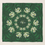 "Light Green Orchids Emerald Square Chiffon Scarf<br><div class=""desc"">Monogrammed Pale Olivine Green Orchids on Emerald Green Background Square Chiffon Scarf.  THERE IS A SEPARATE LONG VERSION OF THIS SCARF. Graphic Design by Claudine Boerner.</div>"