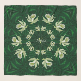 Light Green Orchids Emerald Square Chiffon Scarf