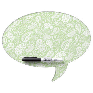 Light Green Paisley Floral Pattern Dry-Erase Board