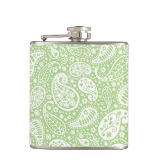 Light Green Paisley Floral Pattern Flask
