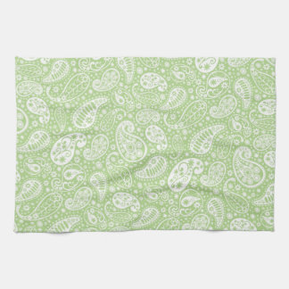 Light Green Paisley Floral Pattern Kitchen Towels