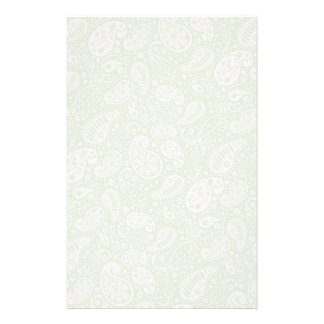 Light Green Paisley Floral Pattern Stationery