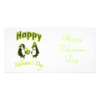 Light Green Penguin Happy Valentines Day Card