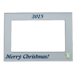 Light Green Penguin with Blue & Yellow Ice Skates Magnetic Photo Frame