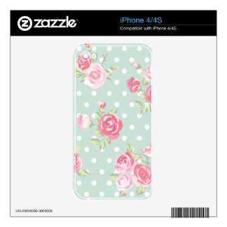 light green,pink roses,shabby chic,pattern,vintage iPhone 4S skins
