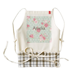 light green,pink roses,shabby chic,pattern,vintage zazzle HEART apron