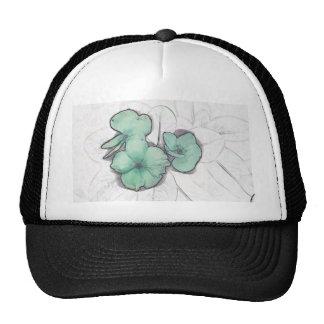 light green pinwheel sketch flower floral design trucker hat