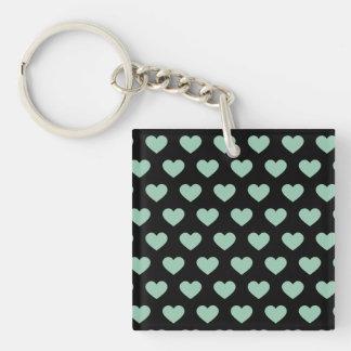 Light Green Polka Dot Hearts (Black Background) Keychain