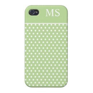 Light Green Polka Dots & Monogram iPhone 4 Cases