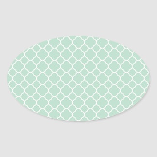 Light Green Quatrefoil Pattern Oval Sticker