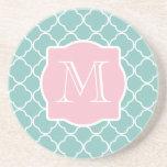 Light Green Quatrefoil Pink Monogram Beverage Coaster