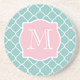 Light Green Quatrefoil Pink Monogram Beverage Coaster