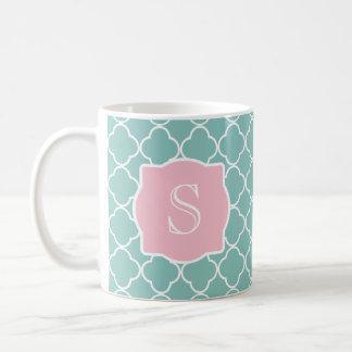 Light Green Quatrefoil Pink Monogram Coffee Mug