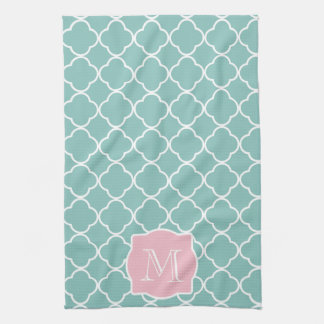 Light Green Quatrefoil Pink Monogram Kitchen Towels