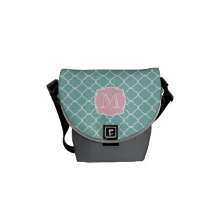 Light Green Quatrefoil Pink Monogram Courier Bags