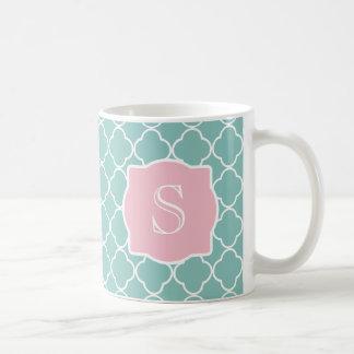 Light Green Quatrefoil Pink Monogram Coffee Mugs