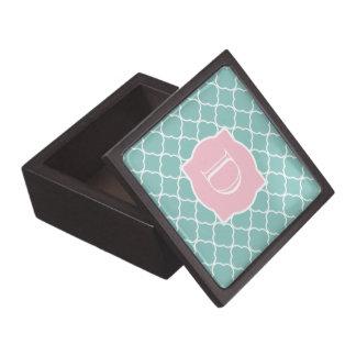 Light Green Quatrefoil Pink Monogram Premium Trinket Boxes
